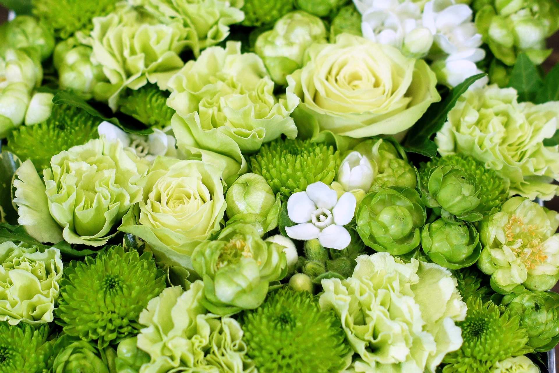 グリーン系のお花のアレンジメント