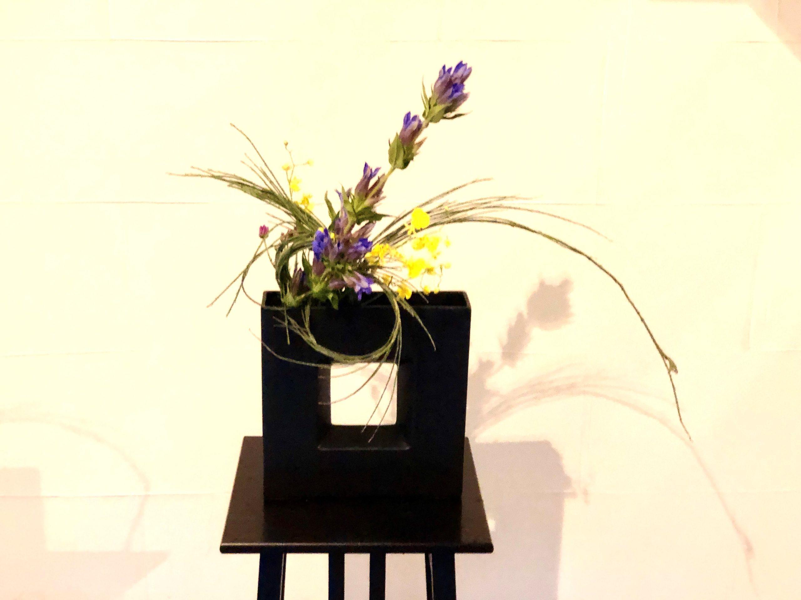 曲線の枝物と直線のお花をつかった生け花
