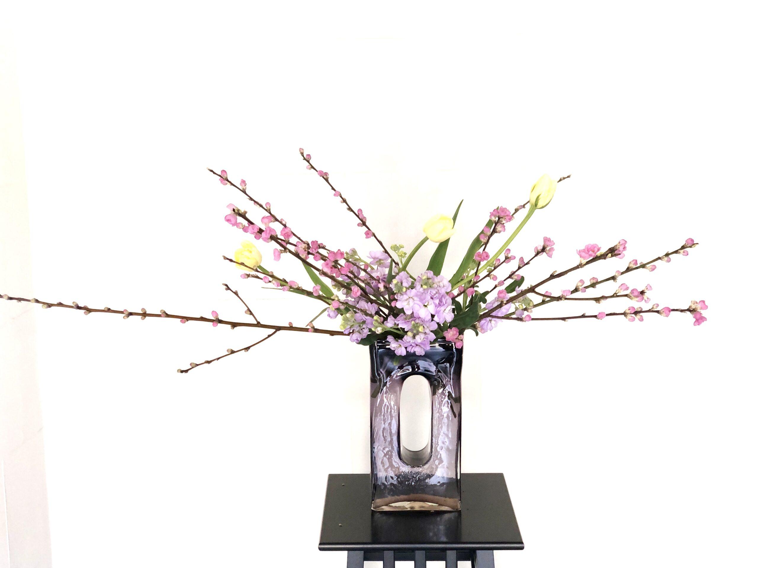 桃の花の生け花 投げ入れ編 ひなまつりのお花の飾り方